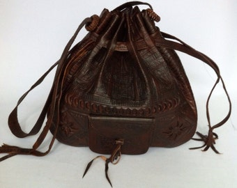 Moroccan Handcrafted Embossed Drawstring Shoulder Bucket Bag, Pouche