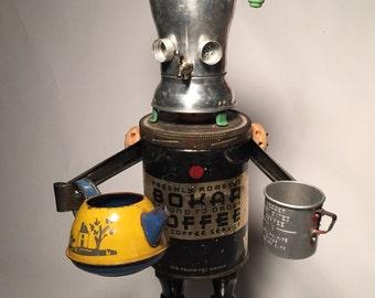 Coffeestein's Monster - Assemblage Art Coffee Pot Robot