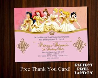 Princess Invitation,Disney Princesses, Disney Princess,Cinderella, Princess Birthday,Snow white, Jasmine,Little Mermaid,