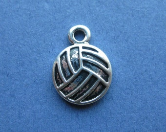 10 Volleyball Charms - Volleyball Pendant - Volleyball - Volley Ball - Sports - Antique Silver- 16mm x 12mm -- (No.89-10205)