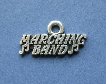 10 Marching Band Charm - Marching Band Pendant - Band- Music Charm - Instrument - Antique Silver - 19mm x 10mm - (No.81-10517)