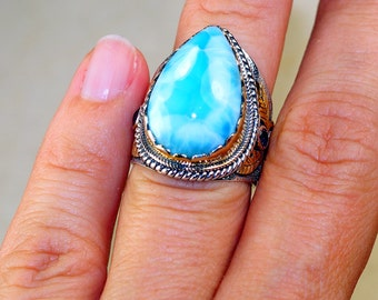 Stunning Larimar  set in Pure 925 Sterling Silver and 18K Gold Plated Ring size: 7