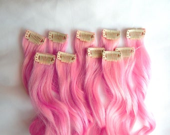 BUBBLEGUM PINK 100% Human Hair Extensions DOUBLE Wefted : Clip In Hair Extensions, Remy Hair Extensions, Ombre Hair, Pink Hair Extensions