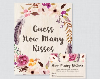 Boho Guess How Many Kisses Bridal Shower Game - Printable Bohemian Bridal Shower Kisses Guessing Game - Floral Kisses Guess Game 0006