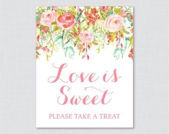 Love is Sweet Sign for Floral Bridal Shower - Printable Pink and Gold Flower Shower Favor Table Sign - Love is Sweet Take a Treat Sign 0004