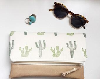 Cactus Block-Print Canvas Foldover Summer Vegan Pleather Clutch