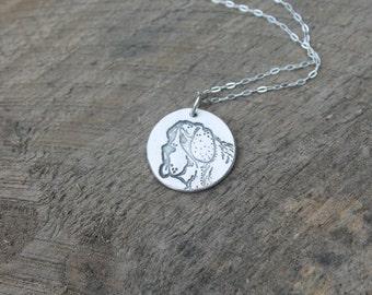 Saint Bernard - Dog - Embossed fine silver pendant
