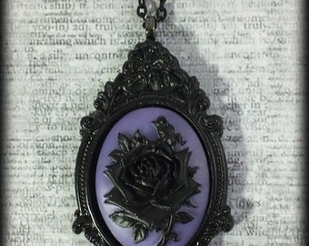 Gothic Victorian Steampunk Large Cameo Statement Necklace - Black Rose on Purple