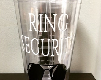 Personalized Ring Security Ring Bearer 16 oz. Clear Tumbler, Bridal Party Gifts, Ring Bearer Gifts, Vinyl Graphic and Lettering