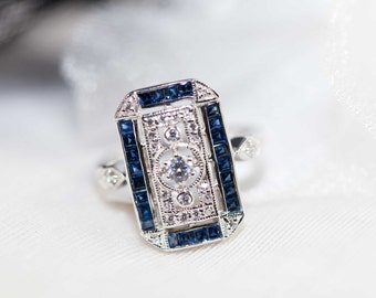 Blue sapphire and silver ring in Art deco design - Vintage sapphire engagement ring