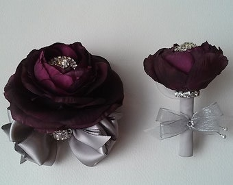 Plum and Silver Corsage and Boutonniere Set-Prom Flowers-Homecoming Corsage-Wrist Corsage-Mother of the Bride-