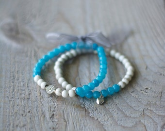 Set of bangles stones semiprecious for women, gems - turquoise Jade and ivory magnesite - heart charm and round - gift