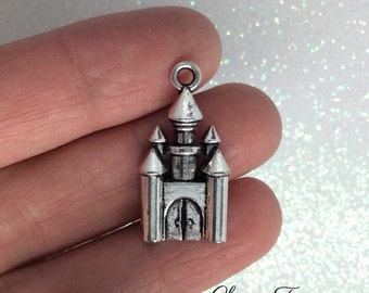 6 Castle Charms-28x14 mm - Antique Tibetan Silver Tone- One Sided Charm- Building Theme- Fairy Tale Theme Ref. 1051