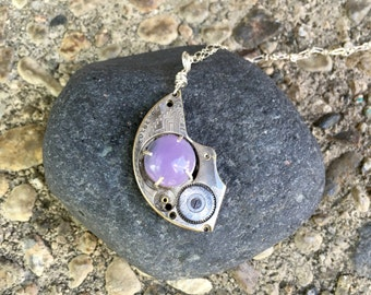 Etched Watch Bridge with Purple Natural Stone