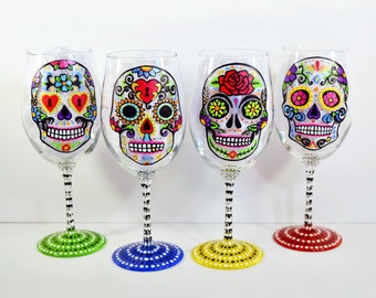 Sugar Skull - Hand Painted Wine Glasses - Sugar Skull Wine Glass - Day of the Dead - Wedding - Dia De Los Muertos - Wedding Gift - Wine Gift