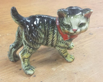 Vintage Hand Painted Porcelain Tabby Cat Figurine by Royal Japan