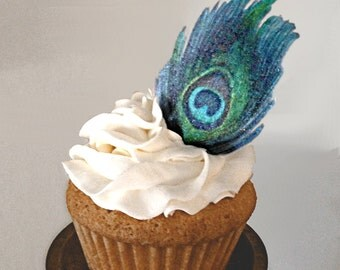 Edible Cake Decorations - Peacock Feathers, Double-Sided Wafer Paper Toppers for Cakes, Cupcakes or Drinks Wedding Cake Decorations