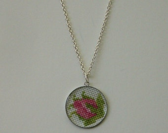 Embroidered rose bud cabochon necklace