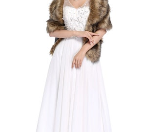 HailieBridal Brown Sleeveless Faux Fur Bride Bridesmaid Shawl