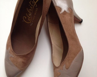 Sophia Heels | vintage brown leather and suede pumps • size 8.5