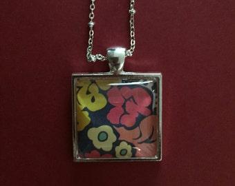 Square Silver Back Pendant Necklace