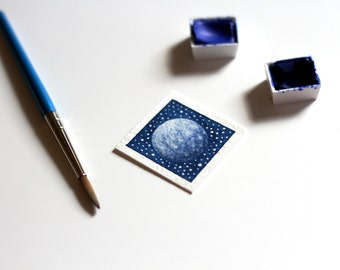 Moon Painting, Miniature Art, Tiny Moon Watercolor Painting, Space Art, Astronomy Art, Lunar Art, Blue Full Moon Art, Miniature Painting