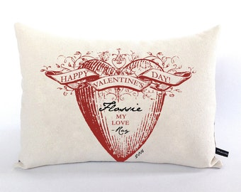 Personalized Happy Valentine pillow cover Red Heart love canvas 12x16 cottage chic cushion #528 FlossieandRay