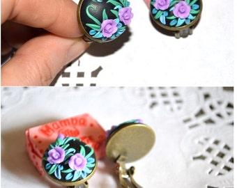 Jewelry Clip|On|Earrings rose earrings Flower Clip non pierced earrings Girls purple earrings handmade christmas gifts|for|her polymer clay