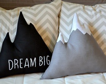 Mountain pillow Dream big or Explore hand embroidered inspirational quote - Nursery decor, mountain cushion, cabin pillow - by Cabin Studio
