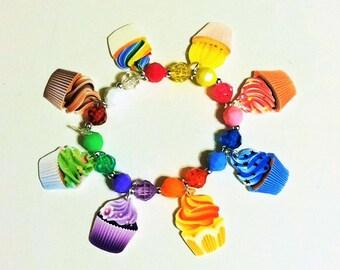 Cupcake Charm Bracelet, Cupcake Bracelet, Charm Bracelet, Cupcake Jewelry