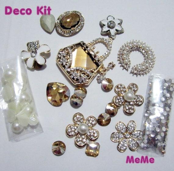1 set deco kit bling alloy bag flower gems rhinestones accessories cabochon deco den on craft. Black Bedroom Furniture Sets. Home Design Ideas