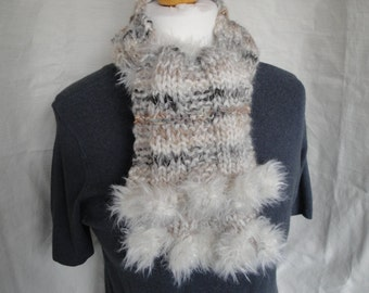 woman cream scarf, luxe 'fur' trim scarf, hand knit neckwarmer, scarf with pompoms, faux fur trim tippet, pompom muffler, knit pompom tippet