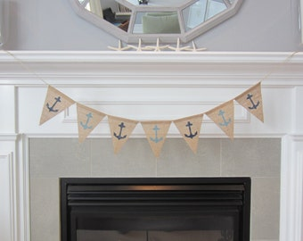 Anchor burlap banner - nautical burlap banner - many colours available