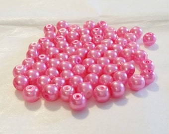 "Pink Pearls, 6mm Glass Beads, Hot Pink 6mm Round Glass Pearl Bead, 6mm Beads, 76 Pearls, Round Beads, Pearl Beads, 16"" Strand of Pearls"