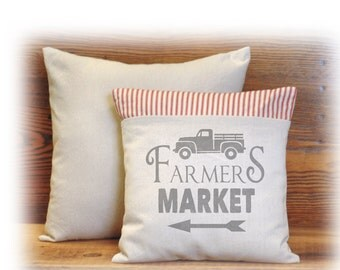 Farmers Market, Farm Truck, Farmhouse Style, Pillow Cover