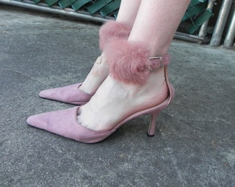 Pink Suede and Rabbit Fur Kitten Heels
