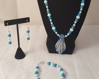 Glass Pendant Necklace - Blue & White Necklace - Blue Necklace - Blue Pendant Necklace - Blue Necklace - Pendant Necklace - Blue Jewelry Set