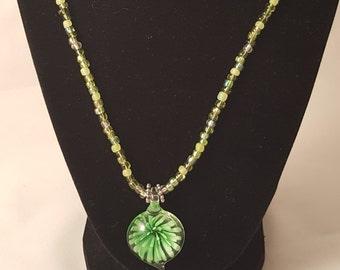 Lime Green Flower Pendant - Glass Flower Pendant - Lime Green Seed Bead - Glass Pendant Necklace - Pendant Necklace - Green Necklace