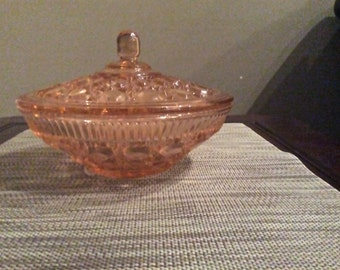 Pink Windsor Brighton Covered Candy Dish by Indiana Glass Co