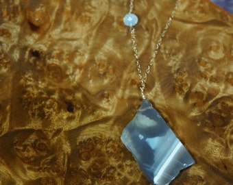 Agate druzy slab necklace