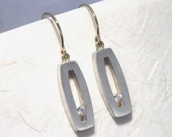 Modern Silver and Diamond Earrrings