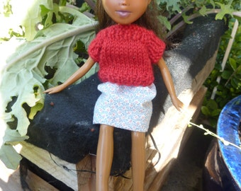 Back to Natural Doll No.16 recycled, OOAK, hand painted, hand knitted, and clothed. Made Down