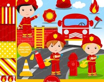 Firefighter clipart, Firefighter party clipart, fireman digital image, fireman graphics, firefighter - CL134