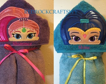 Shimmer and Shine inspired Hooded Towel - Towel - Hooded Towel - Childs Hooded Towel - Shimmer - Shine