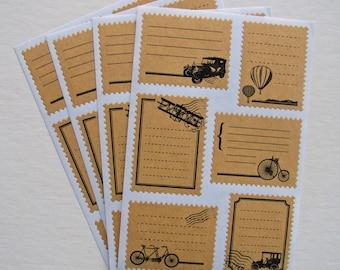 Kraft Label Sticker Set / Vintage Transport Postage Stamp Labels / Planner,School Books,Filofax,Diary,Scrapbooking,Craft Supply 4 Sheets
