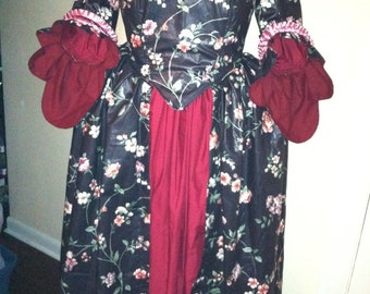 Black Burgundy Flowered 18th Century Colonial Marie Antoinette Dress Gown CUSTOM MADE To Your Measurements