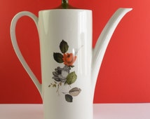 """Myott """"Fiesta"""" Coffee Pot, green, orange, grey and brown autumnal pattern, from the 1960s"""