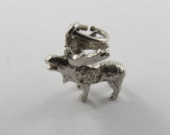 Sterling Silver Charm of a Moose with Big Antlers.