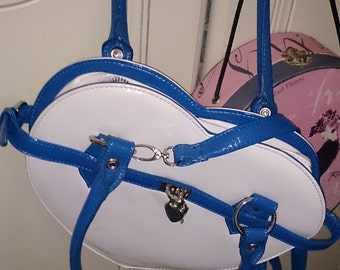 White HEART shape handbag with blue trim and AND chrome padlock and key!