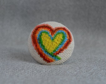 Embroidered Heart Cross Stitch Ring Embroidered Jewelry Unique Heart Ring Handmade Rainbow Heart Round Ring